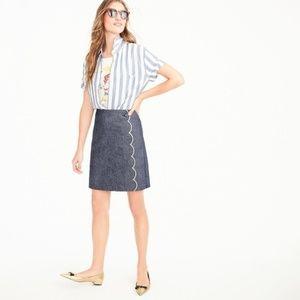 J. CREW   Scalloped Chambray Skirt   4 Petite